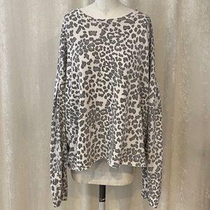 Sundry Leopard Ruched Cuff Sweatshirt